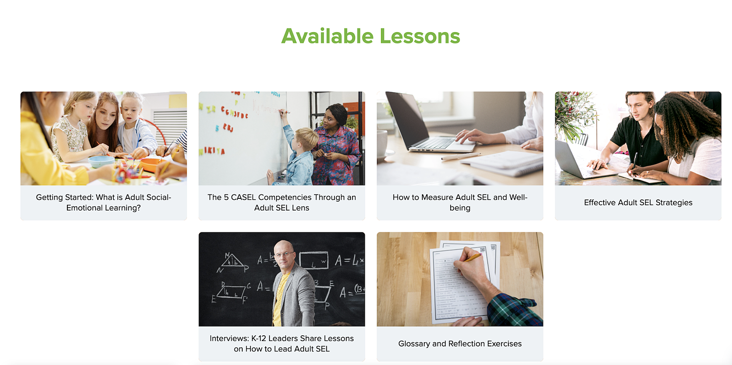 Available Lessons - Building Capacity for Adult SEL